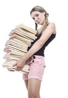 Free Girl With Books Royalty Free Stock Image - 16039376