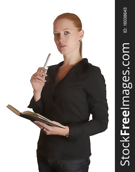 Thinking woman with notebook