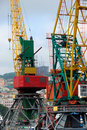 Free Two Colored Port Cranes Royalty Free Stock Images - 16047469