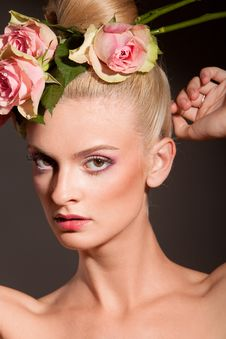 Free Portrait Of Blonde With A Wreath Of Flowers Stock Image - 16040131
