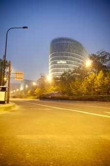 Building And Road At Night Stock Photography