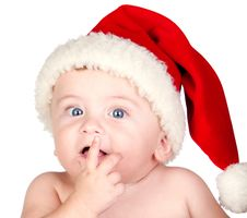 Free Beautiful Babe With Blue Eyes And Christmas Hat Stock Image - 16041011