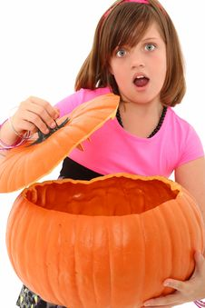 Free Empty Pumpkin Girl Royalty Free Stock Images - 16041339