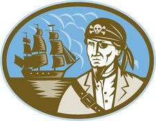 Pirate With Sailing Tall Ship Stock Photo