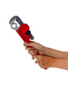 Free Woman Holding Pipe Wrench Royalty Free Stock Image - 16041466