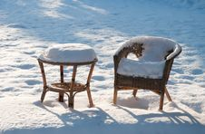 Free Garden Furniture Under The Snow Royalty Free Stock Image - 16041506