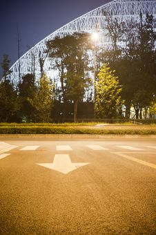 Building And Road In Night Royalty Free Stock Image