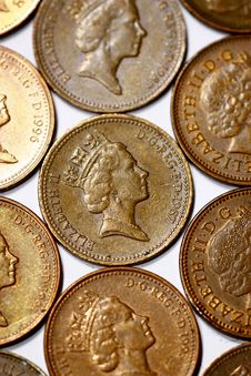 Free One Penny Coins From United Kingdom Royalty Free Stock Photo - 16041765