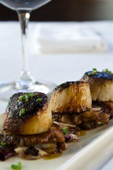 Free Pan Seared Scallops Over Pork Belly Royalty Free Stock Images - 16042549