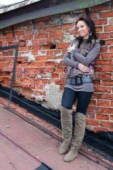 Free Smiling Girl Over Brick Wall Stock Photos - 16043033