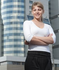 Free Beauty Business Woman On Modern Glass Building Royalty Free Stock Photos - 16043828