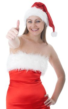 Free Woman In Red Santa Hat Royalty Free Stock Photography - 16043837