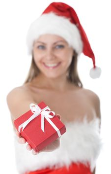 Beauty Woman In  Santa Hat With Present Royalty Free Stock Photo