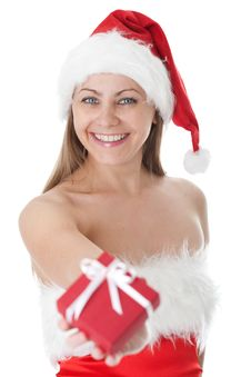 Beauty Woman In  Santa Hat With Present Royalty Free Stock Photos