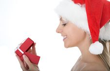 Free Beauty Woman In  Santa Hat With Present Stock Photos - 16043863