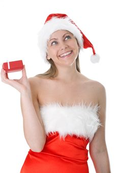 Beauty Woman In  Santa Hat With Present Royalty Free Stock Image