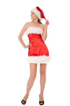 Free Woman In Red Santa Hat Royalty Free Stock Photos - 16043868
