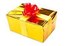 Golden Gift Box With Bow Royalty Free Stock Photo
