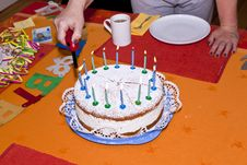 Birthday Cake At The Table Royalty Free Stock Images