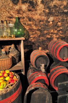 Free Cellar With Barrels Stock Photos - 16047433