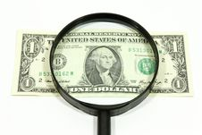 Free US Dollar With Magnifying Glass Royalty Free Stock Photo - 16047665