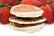 Pancakes With Strawberry Jam Royalty Free Stock Image