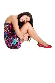 Girl Sitting On Floor. Royalty Free Stock Images