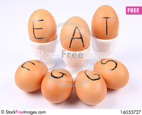 Free Eggs With An Inscription EAT EGGS Royalty Free Stock Photography - 16055727