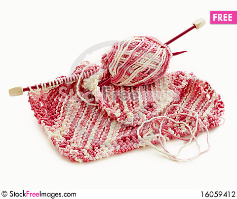 Free Pink And White Hand Knitted Stock Photography - 16059412