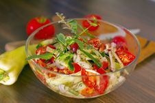 Salad In Glass Dish In The Kitchen Royalty Free Stock Photos