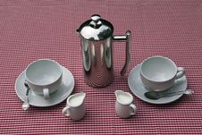 Shiny Coffee Pot And Cups
