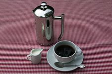 Free Shiny Coffee Pot And Cup Royalty Free Stock Photo - 16050515