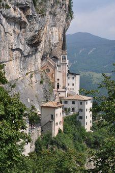 Rock Monastery On Lake Garda Stock Photos