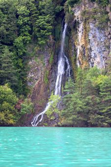 Free Waterfall Into A Lake Stock Images - 16052154