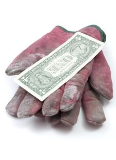 Free Red Worn Work Gloves With Dollar Royalty Free Stock Images - 16052189