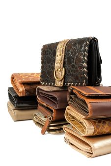 Pile Of Wallets | Isolated Royalty Free Stock Photography