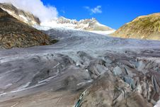 Close Up Of Glacier With Snow Capped Mountains Royalty Free Stock Image