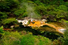 Free Hot Stream With Mineral Sediments, Waimangu Volcan Stock Photo - 16053130