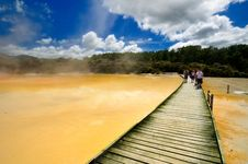 Free Boardwalk Over Artist S Palette, Wai-O-Tapu Stock Photography - 16053632