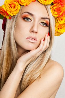 Fashionable Woman With Roses Stock Photos