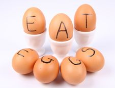 Eggs With An Inscription EAT EGGS Royalty Free Stock Photography