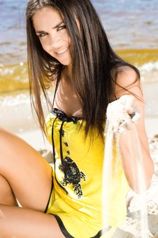 Free Woman At The Beach Royalty Free Stock Images - 16055979