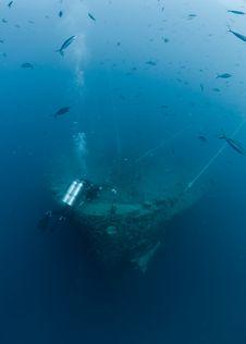 Scuba Diver Exploring Shipwreck SS Thistlegorm Royalty Free Stock Photo