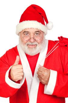 Free Santa Claus With A Full Sack Saying OK Stock Photography - 16057252