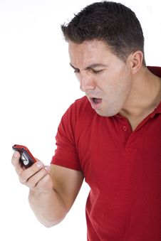 Free Man Yells To The Phone Stock Images - 16057484