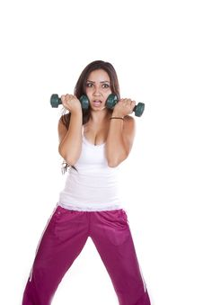 Free Woman With Weights Looking Stunned Stock Photo - 16057650
