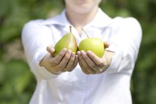 Fresh Fruits In Woman S Hands. Royalty Free Stock Photos
