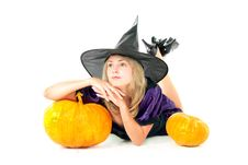 Free Witch Sitting Beside Pumpkins Stock Images - 16062824
