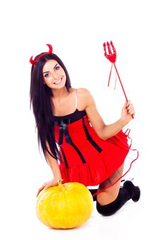 Free Girl Dressed In Halloween Costume Imp, Next Royalty Free Stock Image - 16062956