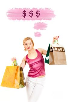 Free Young Pretty Shopping Woman Thinking About Money Royalty Free Stock Images - 16063069